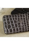 Metallic Croc-Embossed Opera Wallet w/Cross (Black)
