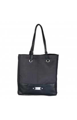 "Black Linen Look Tote Bag w/""Blessed"" Badge"