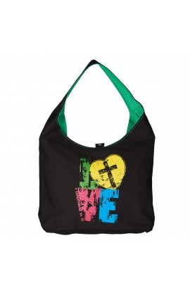 Tote Love Black/Green Canvas