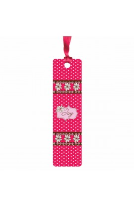 """Joy"" (Pink) Sarah J Bookmark w/ Ribbon"