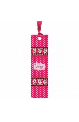 """Joy"" (Pink) Sarah J Bookmark w/ Ribbon"