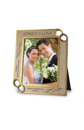 JOINED IN LOVE ENGRAVED FRAME WITH RINGS