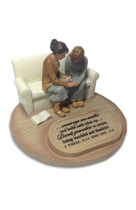 TWO WOMEN PRAYING DEVOTED SCULPTURE