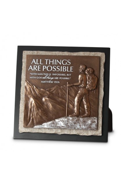 ALL THINGS ARE POSSIBLE STONE SCULPTURE PLAQUE
