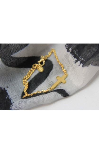 SMALL CROSS BRACELET GOLD PLATED