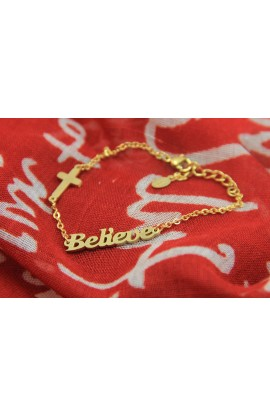BELIEVE BRACELET GOLD PLATED