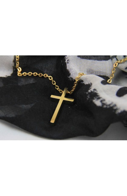 LARGE GEOMETRIC CROSS NECKLACE GOLD PLATED