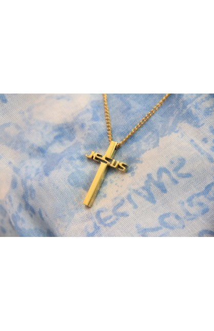 JESUS CROSS NECKLACE GOLD PLATED