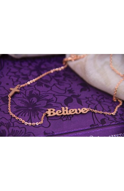 BELIEVE NECKLACE ROSE GOLD