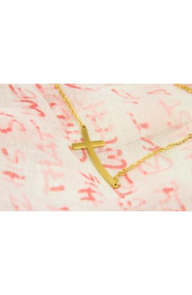 CURVE CROSS NECKLACE GOLD PLATED