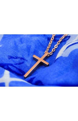 LARGE GEOMETRIC CROSS NECKLACE GOLD ROSE