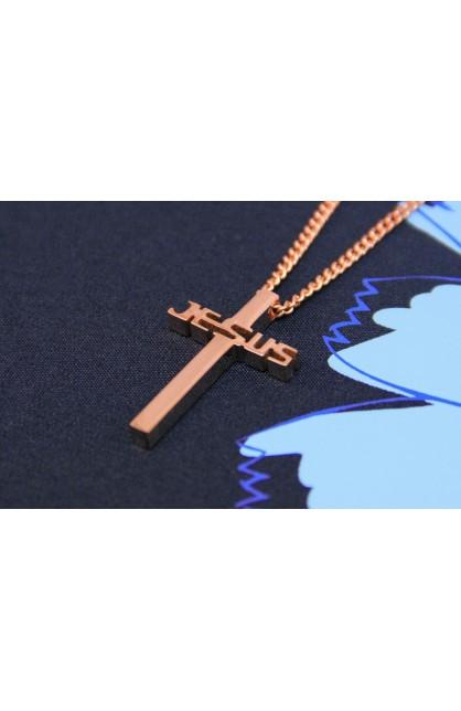 JESUS CROSS NECKLACE GOLD ROSE