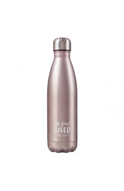 SS Water Bottle Silver Loved 1 Jn 4:19