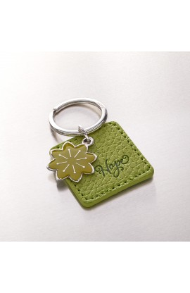 """Hope"" Faux Leather Keyringwith Flower Charm"