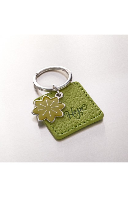 """""""Hope"""" Faux Leather Keyringwith Flower Charm"""