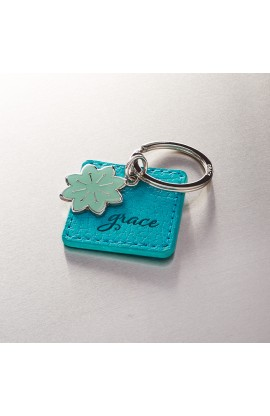 """Grace"" Faux Leather Keyring with Flower Charm"