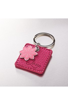 """Love"" Faux Leather Keyring with Flower Charm"