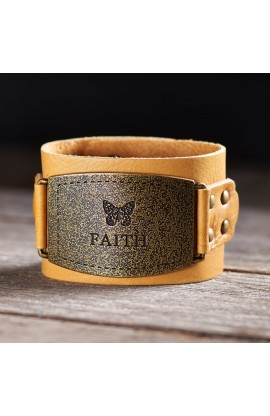 "Ladies Leather Christian Cuff  Wristband w/""Faith"" Buckle"