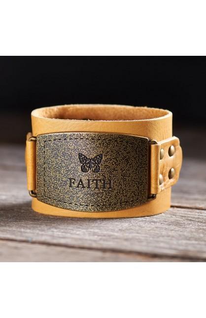 "Ladies Leather Christian Cuff Wristband w/""Faith"" Buckle"