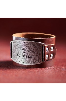 "Ladies Leather Christian Cuff Wristband w/""Forgiven"" Buckle"