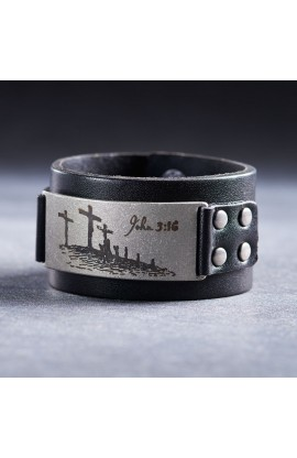 Leather John 3:16 Studded Badge Christian Cuff Wristband