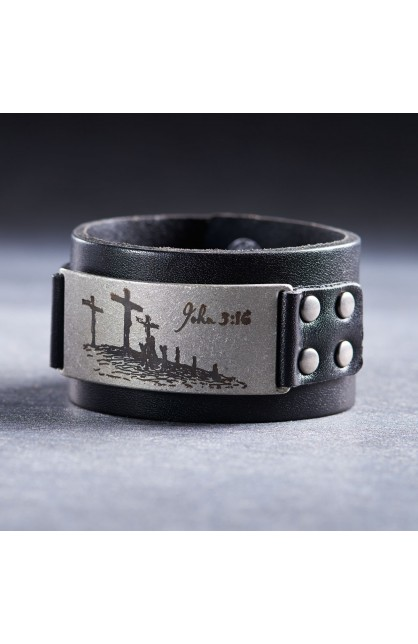 Leather John 3:16 Studded Badge Christian Cuff Wristband