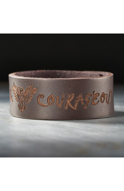 "Leather ""Strong & Courageous"" Christian Wristband"