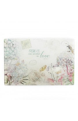 Floral Inspirations Med Glass Cutting Board  - Galatians 5:1