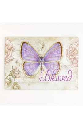"Botanic Butterfly Blessings ""Blessed"" Glass Cutting Board / Trivet (Large: 15 5/8 x 11 3/4)"