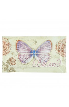 """Botanic Butterfly Blessings """"Blessed"""" Glass Tidbit / Cookie Tray"""