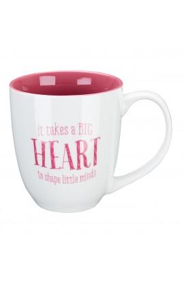 "Pink Blessings to the Teacher ""Big Heart"" Mug - 1 Corinthians 16:14"