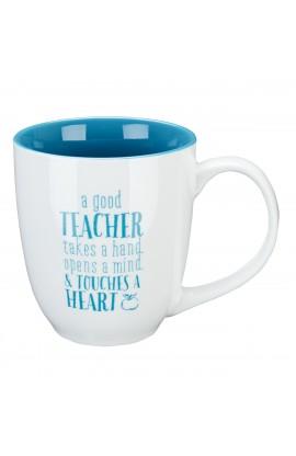 "Blue Blessing to the Teacher ""Touches a Heart"" Mug - 1 Corinthians 16:14"