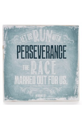 """Finishing Strong Collection: Let Us Run With Perseverance"" Small Wooden Wall Plaque"