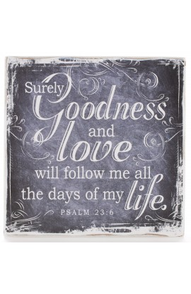 """Finishing Strong Collection: Goodness & Love"" Small Wooden Wall Plaque"