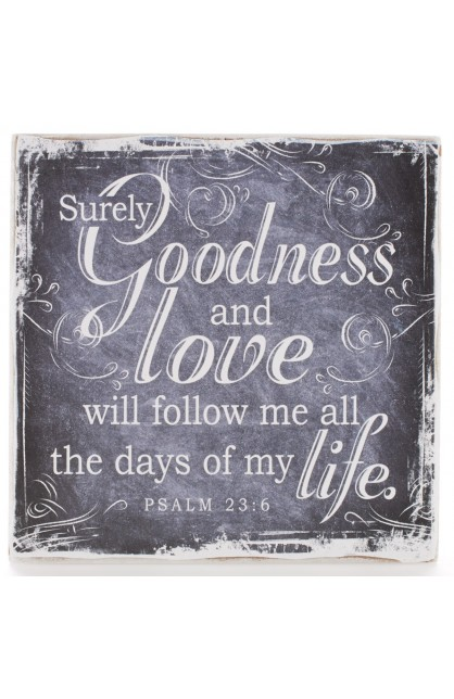 """""""Finishing Strong Collection: Goodness & Love"""" Small Wooden Wall Plaque"""