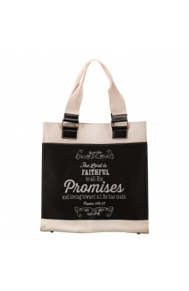 "Retro Chalk Board ""Promises"" Black & White Canvas Tote Bag Psalm 145:13"