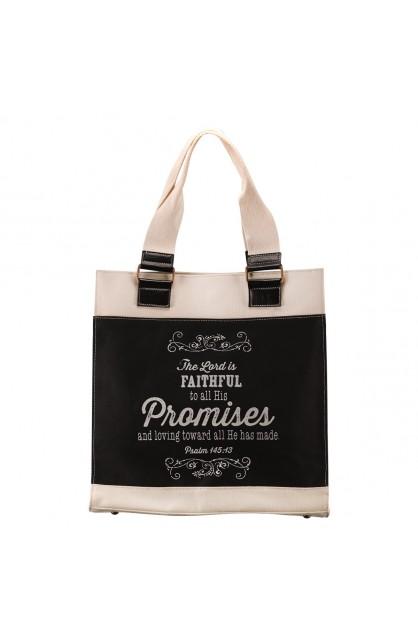 "Retro Chalk Board ""Promises"" Black & White Canvas Tote Bag - Psalm 145:13"