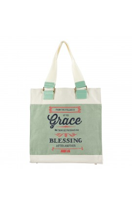 "Retro Blessings ""Grace"" Washed Cadet Blue Canvas Tote Bag John 1:16"