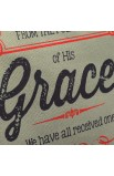 """Retro Blessings """"Grace"""" Washed Cadet Blue Canvas Tote Bag - John 1:16"""