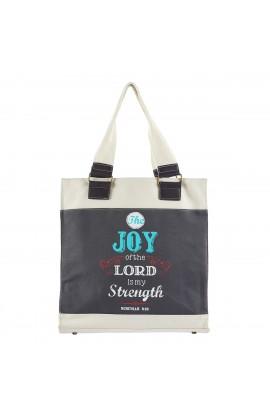 "Retro Blessings ""Joy"" Navy Canvas Tote Bag - Nehemiah 8:10"