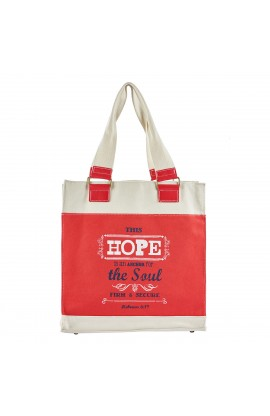 """Retro Blessings """"Hope"""" Red Canvas Tote Bag - Hebrews 6:19"""