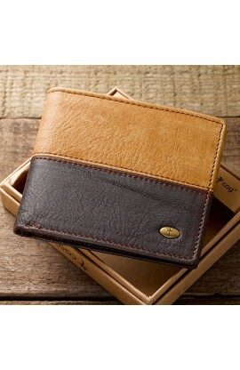 Two Tone Genuine Leather Wallet Cross Stud