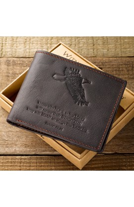 Brown Genuine Leather Wallet Isaiah 40:31