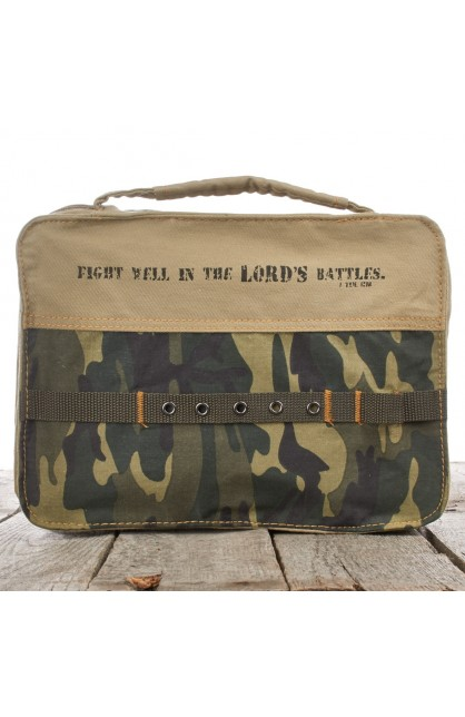 Camouflage Cotton Bible Cover Featuring 1 Tim. 1:18 (Medium)