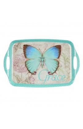 Botanic Butterfly Blessings Melamine Handled Serving Tray