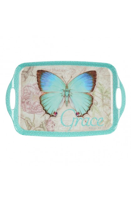 Botanic Butterfly Blessings Melamine Handled Serving Tray