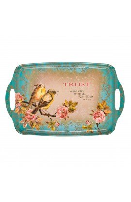 """Trust in the Lord"" Serving Tray in Teal Featuring Prov 3:5"