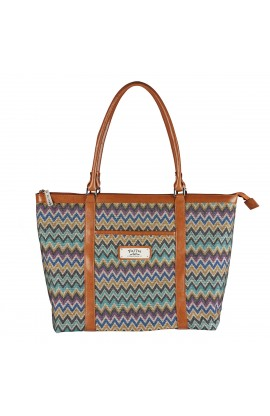 "Chevron Stripe Tote Bag w/""Faith"" Badge"