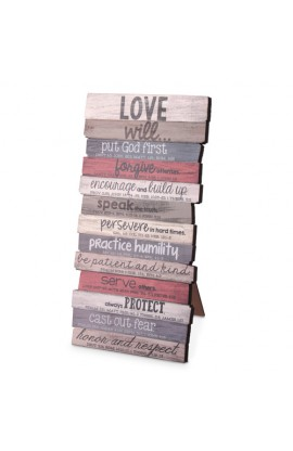 Plaque Wall Desktop MDF Stacked Wood Love 5 x 10