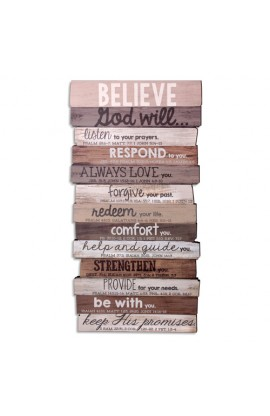 Wall Decor MDF Medium Believe Stacked 8 1/2 x 16 1/2